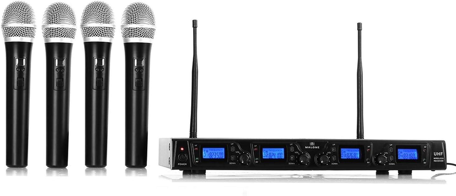 Auna Malone UHF-550 Quartett 1 - Set de micrófonos inalámbricos UHF de 4 Canales, 4 x micrófonos de Mano inalámbricos, 823-832 MHz, Pantalla LCD, 4 x XLR y 1 x Salida Jack, Estuche, Negro