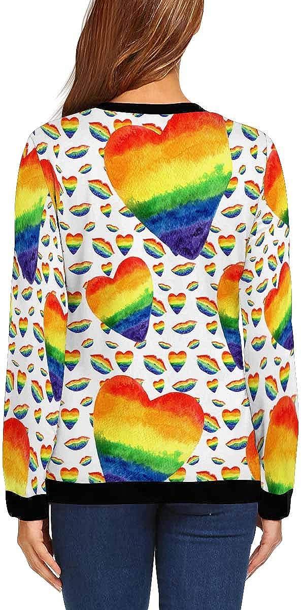 INTERESTPRINT Womens Casual Pullover Tops Rainbow Heart Lip Long Sleeve Sweatshirt XS-XL