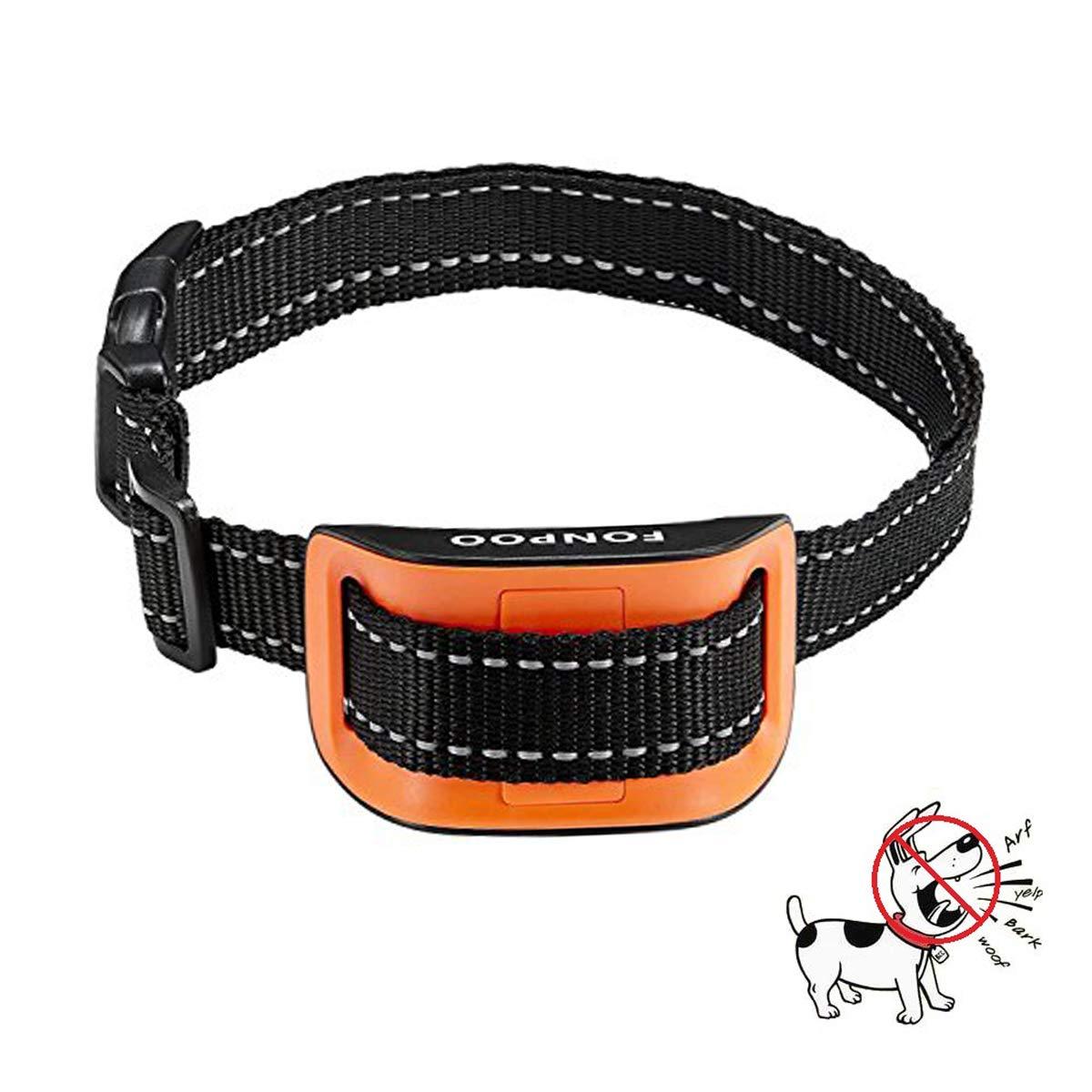 E orange FONPOO bark Collar   Shock Collar for Dogs Training Collars 7 Sensitivity Adjustable Level with Humane Shock Warning Sound for Small Medium Large Dog by (E orange)