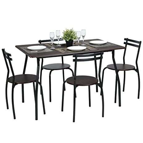 lillyarn 5pcs dining set breakfast table and chairs set metal dinette set kitchen furniture for 4 - Breakfast Table And Chairs Set