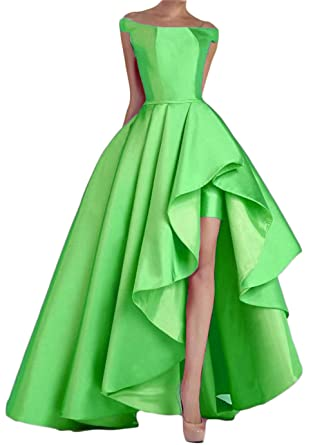 Dydsz Womens Evening Party Dresses Prom Dress for Juniors Off Shoulder Hi-Lo D22 Aqua