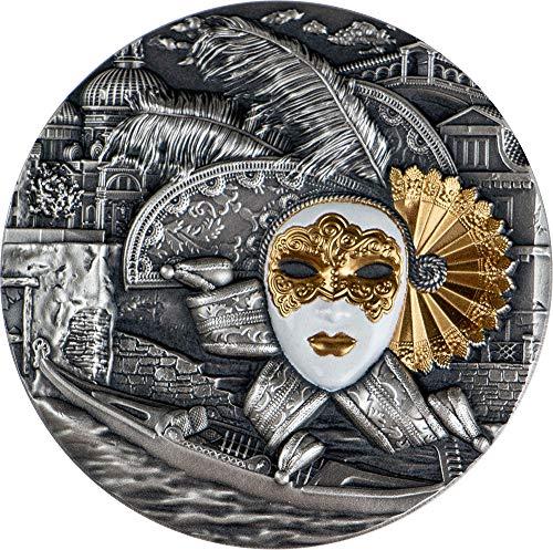 2019 NU Masks PowerCoin VENETIAN MASK Carnival 2 Oz Silver Coin 5$ Niue 2019 Antique Finish