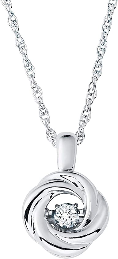 .925 Silver Women/'S Natuarl Real Dancing Diamond Heart Pendant Chain Necklace