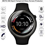 CEDO® Round Edge 2.5 D Tempered Glass Screen Protector for Moto 360 Sport Smartwatch Compatibe (45 mm) (Scratch Proof & Anti-Shatter)