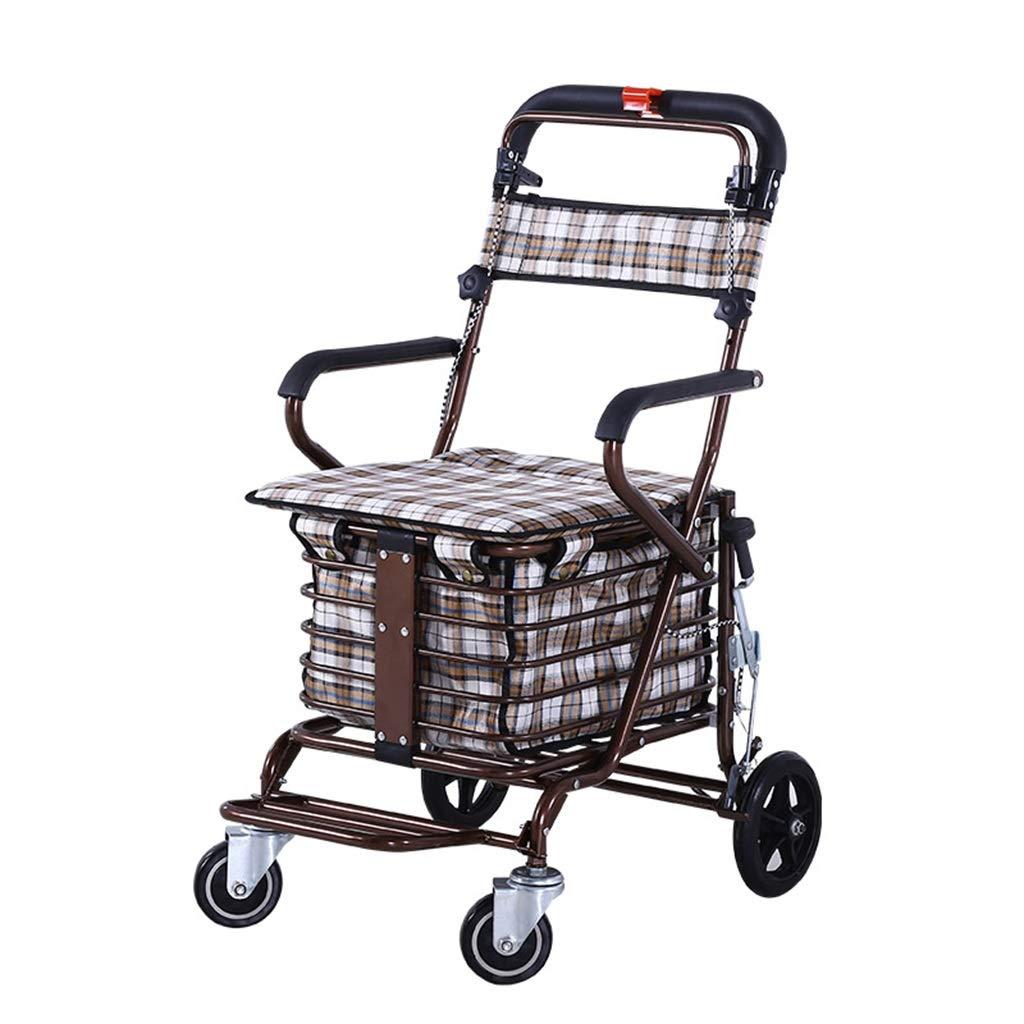 ウォーカーショッピングバスケットトロリー折りたたみ式ブレーキ付き高齢者に最高の贈り物松葉杖老人ショッピングカートは100kgを負担することができます (Color : Brown, Size : 40*60*90cm) B07S6CFH5B Brown 40*60*90cm