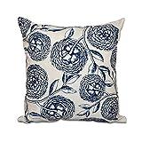E by design 20 x 20-inch, Antique Flowers, Floral Print Pillow, Navy Blue