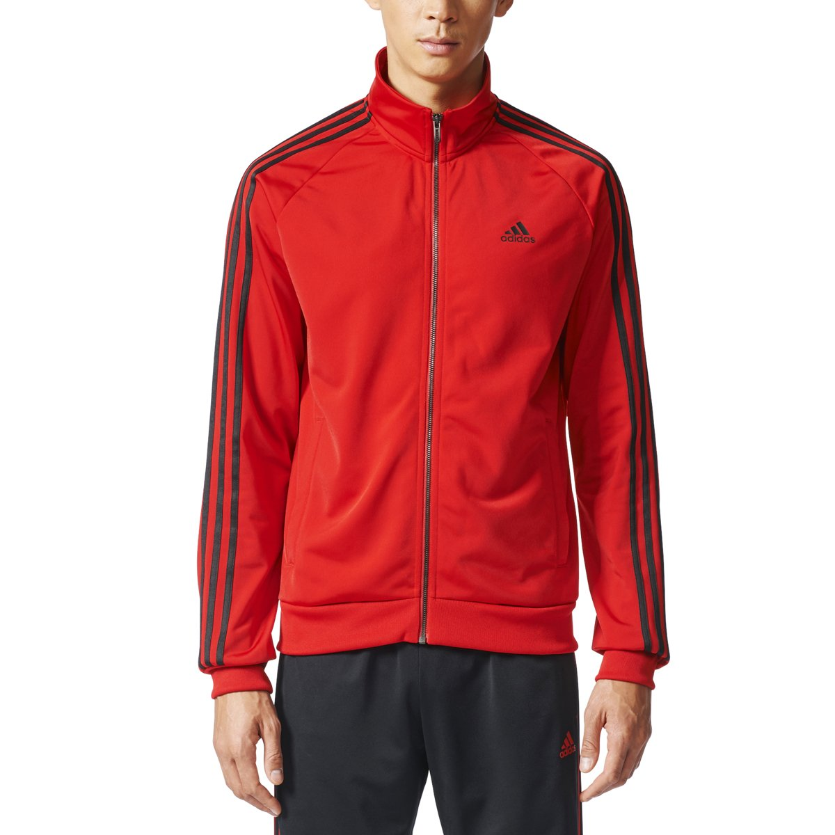 adidas Men's Essentials 3-Stripe Tricot Track Jacket, Scarlet/Black, X-Small by adidas