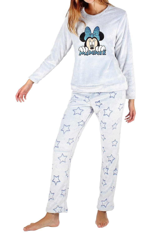 Disney Pijama Manga Larga Calentito, Minnie Stars para Mujer