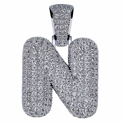 HECHUANG Micropave Simulated Diamond Iced Out Bling Custom Bubble Letters Pendant with Rope Chain (N Silver, -