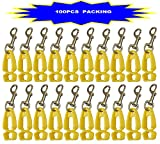 100Pcs Pack AT07-100Y Yellow Sino-Max Glove Clip,Glove Grabber Holder Work Safety Breakaway Safety Gear Belt Loop, Belt Clip Glove Keeper, Neon POM, Reduce Hand Injury, Attach Gloves, Towels, Glasses