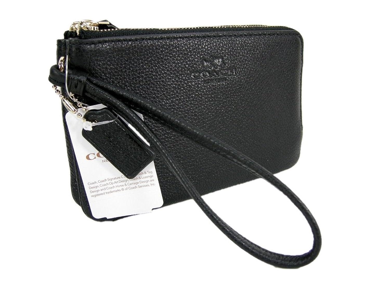 New Coach Signature Logo Wristlet Hand Bag Double Zip Genuine Leather Black Gold