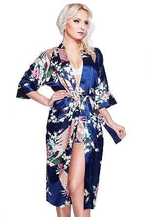 87fb39c198dae9 VA-Fashion Edler Morgenmantel Kimono aus Satin Lang Größen S-XXL:  Amazon.de: Bekleidung