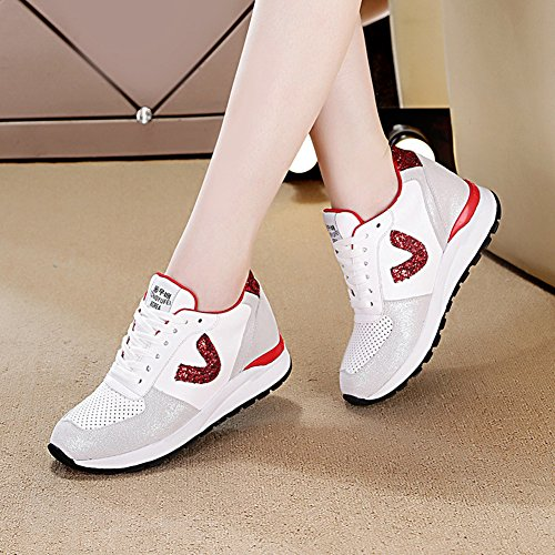 Btrada Womens Breathable Sneakers Lightweight Lace-Up Sports Walking Shoes Shiny Casual Running Shoes White I9weps