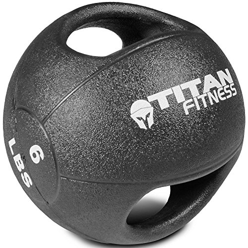 Titan Fitness 6 lb Dual Grip Medicine Ball Rubber Muscle Driver Sport Double
