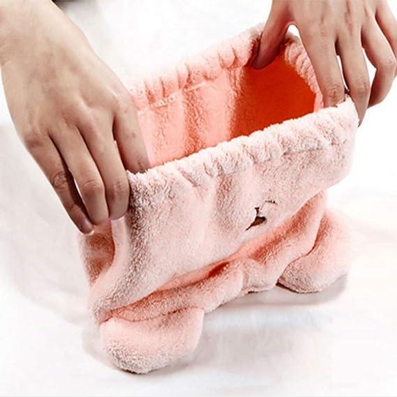 Provide The Best Mujer de la Muchacha Linda del Oso Suave de Agua-Absorbente Toalla de Secado rápido del Pelo del Sombrero del Casquillo del baño de ...