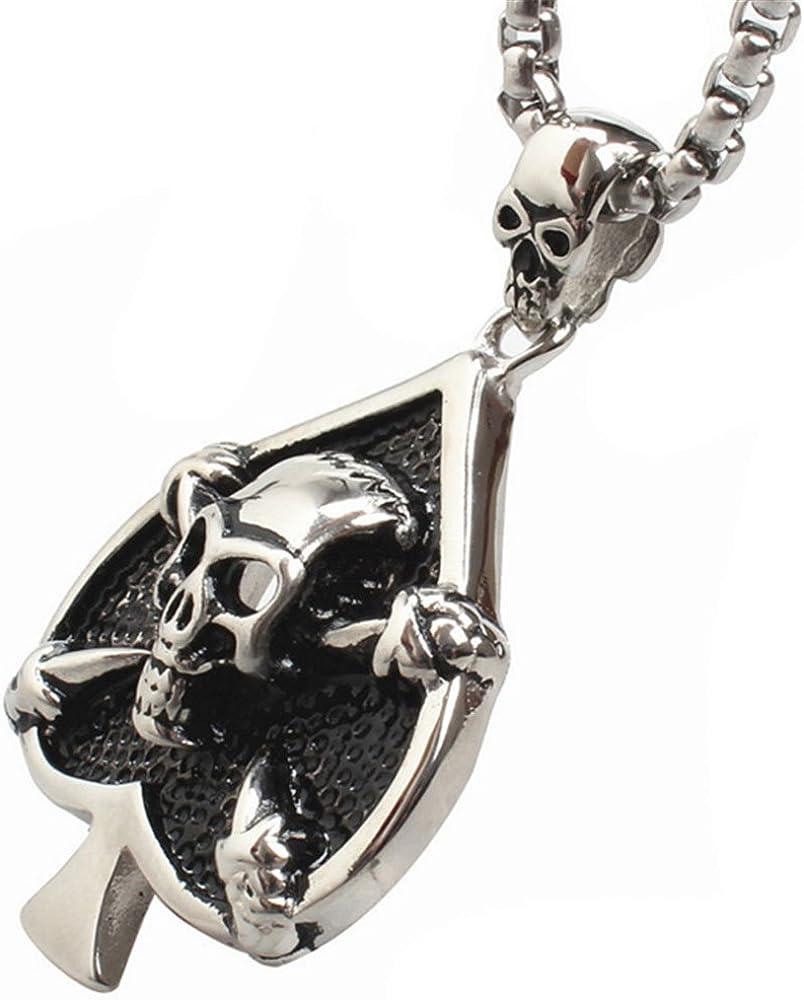 CARTER PAUL Men Stainless Steel Silver Poker Skull Pendant Necklace