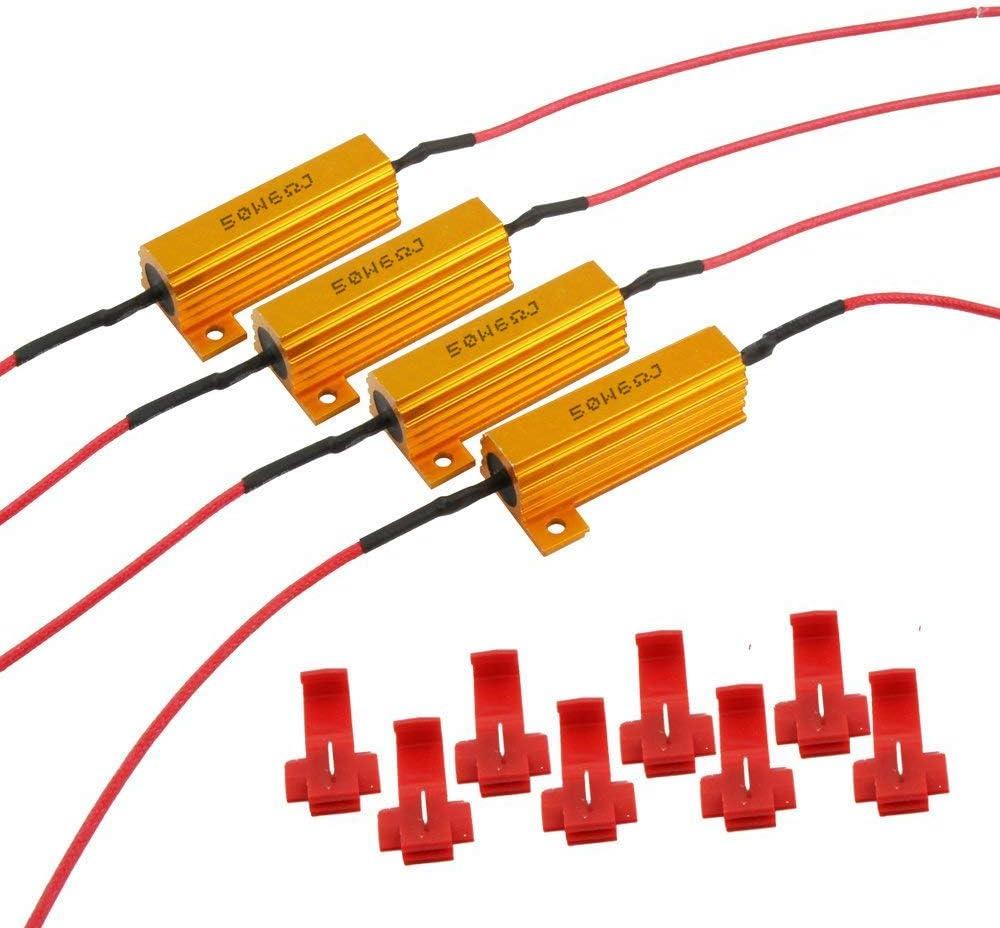 Malayas LED Lastwiderst/ände 4 St/ück Widerst/ände 50W 6OHM keine Fehlermeldung ohne Blink Error f/ür alle Auto Au/ßenlicht