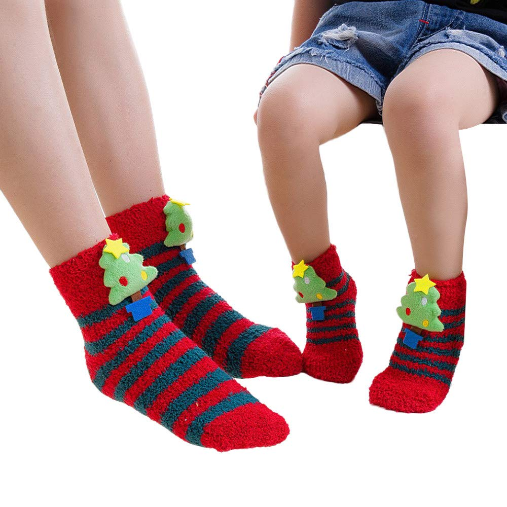 Onefa Girls Boys Baby Mesh Christmas Print Floral Towel Warm Short Cute Thick Socks