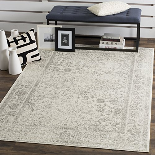 Safavieh Adirondack Collection ADR109C Ivory and Silver Oriental Vintage Distressed Area Rug (8' x 10') from Safavieh