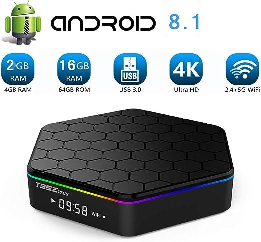 WFGZQ TV Box Android 8.1, Smart Media Box 2GB RAM 16GB ROM S912 Quad Core Bluetooth