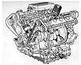 1983 1984 Ferrari Mondial Engine Drawing Photo Poster