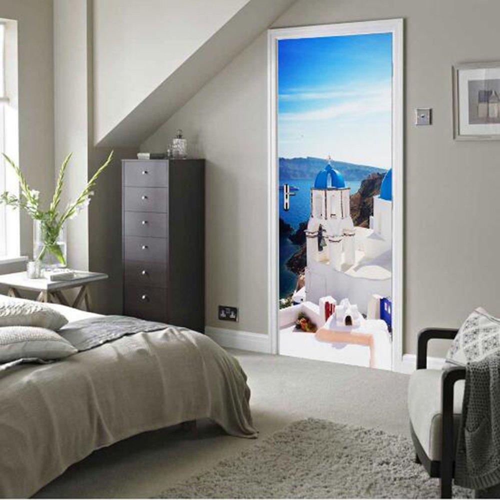 RUMOCOVO Santorin Stickers Muraux 3D Porte Autocollants pour Chambre Salon D/écoration Porte /Étanche PVC Auto-adh/ésif 70 200 cm