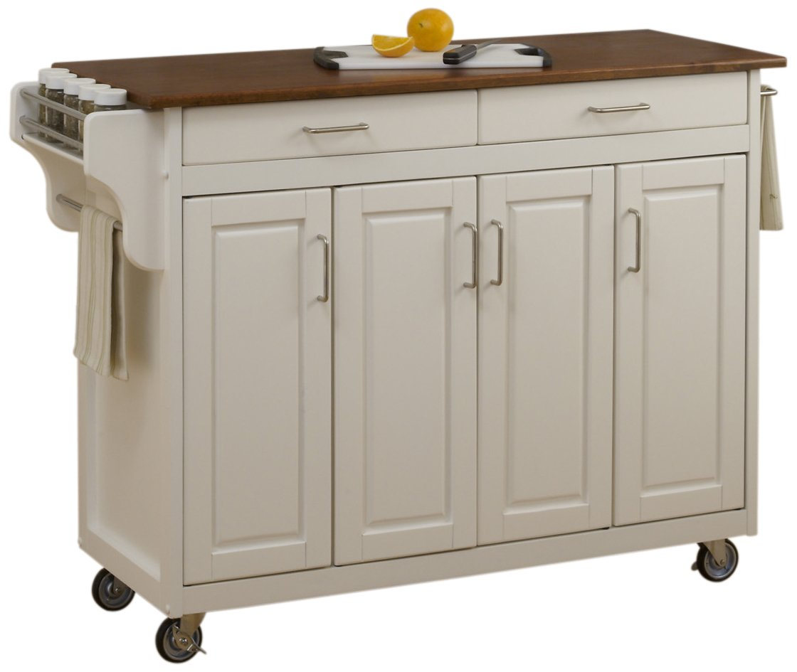 Home Styles 9200-1026G Create White 4 Door Cabinet Kitchen Cart with Oak Top