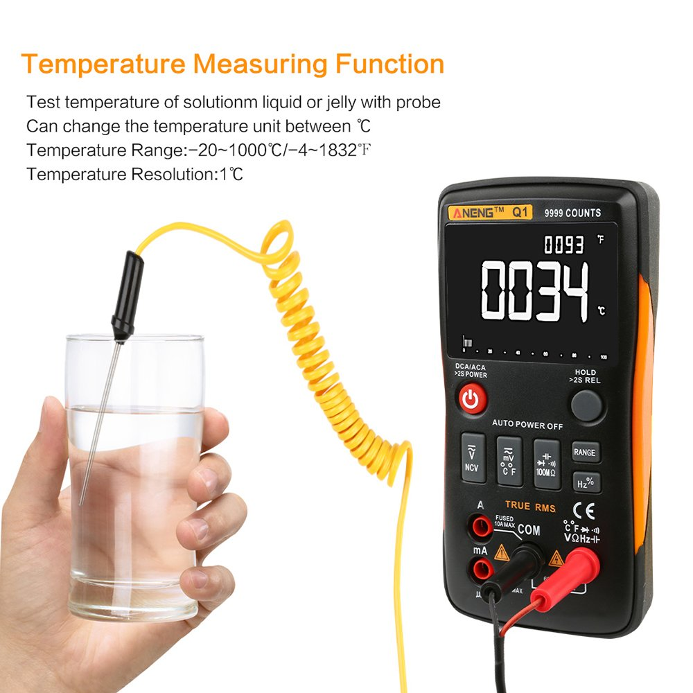 4EVERHOPE AN8009 Auto Range Handheld Digital Multimeter Test AC//DC voltage Orange Continuity Resistance Diodes Transistor for Auto Electrical Engineering DC Current