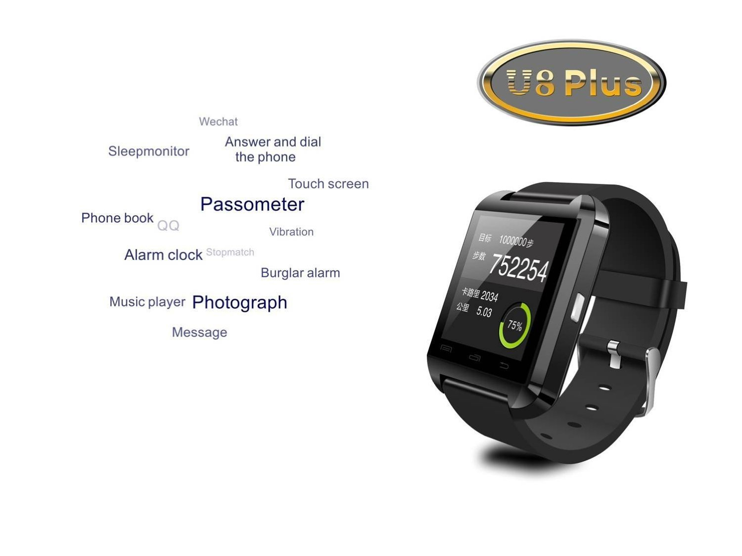 Flylinktech® U8 Plus whatsapp smartwatch Reloj inteligente táctil compatible con Android e iOS Bluetooth 4.0 (Negro)