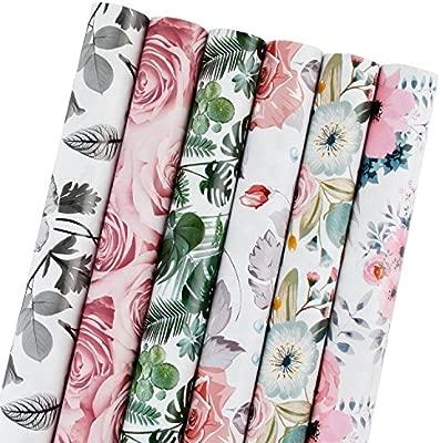 RUSPEPARollo de papel de regalo - Hermoso diseño floral para ...