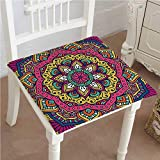Mikihome Dining Chair Pad Cushion Meditation Design Round Pink Mustard Fashions Indoor/Outdoor Bistro Chair Cushion 22''x22''x2pcs