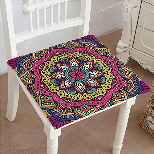 Mikihome Dining Chair Pad Cushion Meditation Design Round Pink Mustard Fashions Indoor/Outdoor Bistro Chair Cushion 22''x22''x2pcs by Mikihome
