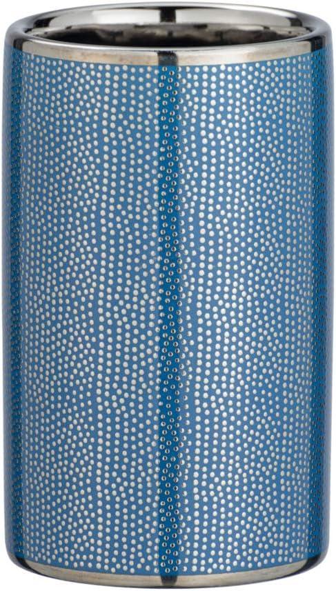 WENKO Zahnputzbecher Nuria Silber//Blau
