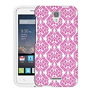 Alcatel OneTouch Pop Astro Case, Snap On Cover by Trek Victorian Stunning Pink on White Case