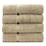 Towel Bazaar Premium Eco-Friendly 100% Turkish Cotton Hand Towel Set of 4, Multipurpose Bathroom Towels for Hand, Face, Gym and Spa (16 x 30 inches, Driftwood)