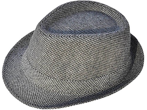Black And Gold Mini Fedora Hat - Simplicity Mens Vintage Sixties Style Wool Fedora Hat, Grey/Black