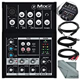 Mackie Mix Series Mix5 5-Channel Compact Mixer and Accessory Bundle w/ Cables + Fibertique Cloth