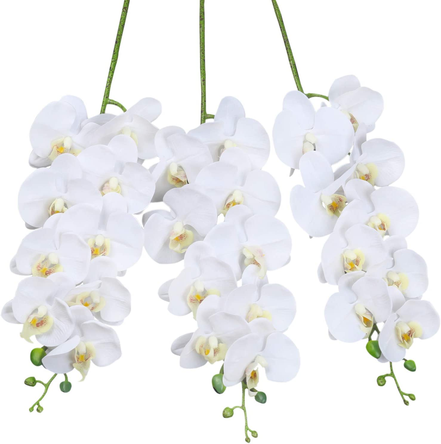 SHACOS Artificial Orchid Stems Set of 3 PU Real Touch White Orchid 37 inch Tall 9 Big Blooms Fake Phalaenopsis Flower Home Wedding Decoration (3 PCS, White)