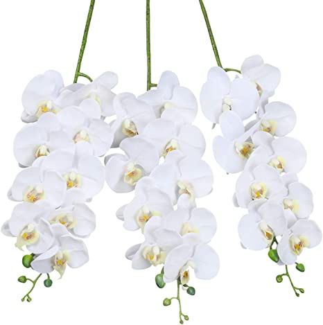 Amazon Com Shacos Artificial Orchid Stems Set Of 3 Pu Real Touch White Orchid 37 Inch Tall 9 Big Blooms Fake Phalaenopsis Flower Home Wedding Decoration 3 Pcs White Kitchen Dining