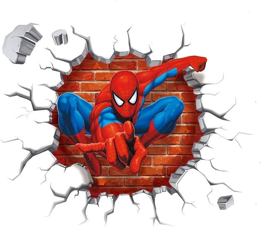 Superhero Wall Stickers DIY 3D Removable Spiderman Children Themed Art Boy Girl Wall Sticker Nursery Bedroom Playroom Decoration Wall Stickers