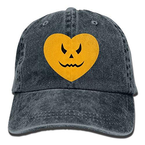 Unisex Pumpkin Heart Halloween Baseball Cap Yarn-Dyed Denim Hat Adjustable Snapback Outdoor Sports Cap