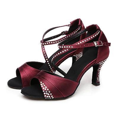 WYMNAME Womens Chaussures de Danse Moderne,[Fond Mou] Chaussures de Danse Latine Sandale-Noir Longueur du Pied=22.8CM(9Inch)