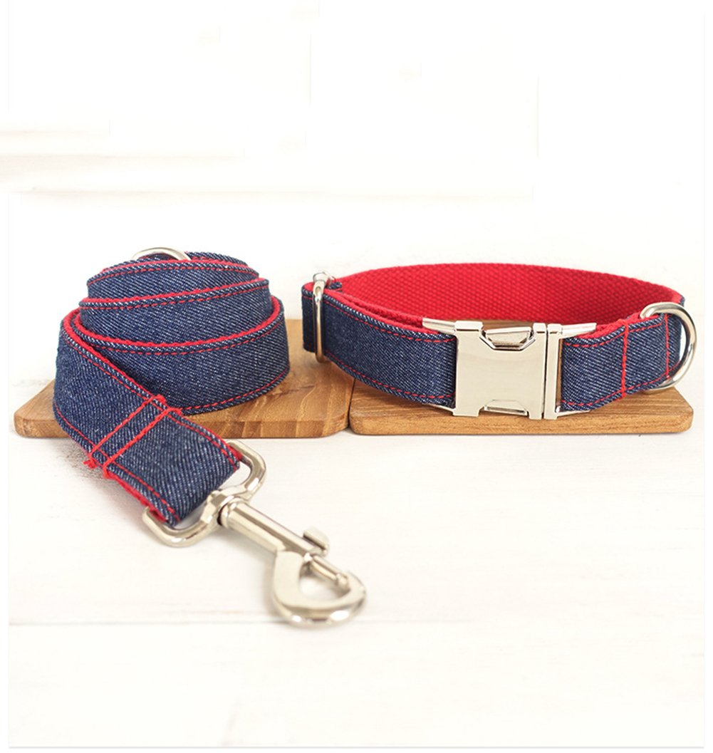 A X-Small A X-Small Traction Rope Collar Denim Pet Traction Rope Suit Personality Style Pet Collar Traction Rope Suitable for Pets to Go Out Walk Party and So On XQ-06632
