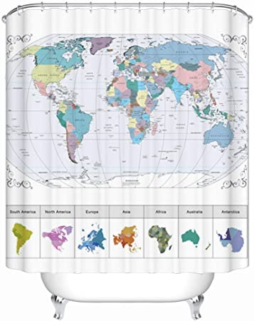 Maxwelly World Map Shower Curtain Fabric Bathroom Shower Curtain Polyester  Waterproof Bath Curtain with Hooks, 72 x 72 Inch, Colorful