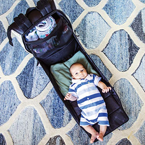 PAPERCLIP JoJo Stone Grey Diaper Bag Backpack with Changing Pad - JoJo Plus - Vegan Leather, Environmentally Friendly Construction - Portable Diaper Changing Station