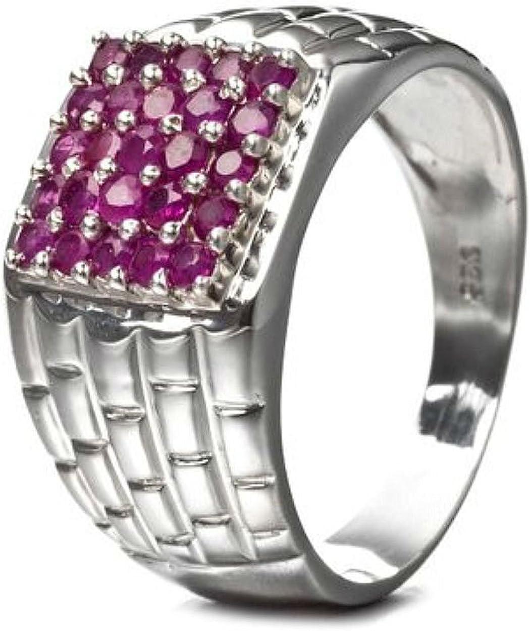 Silvancé - Anillo de mujer - plata esterlina 925 bañada en rodio - auténtico piedras preciosas: Ruby ca. 0.76ct. - R5137R