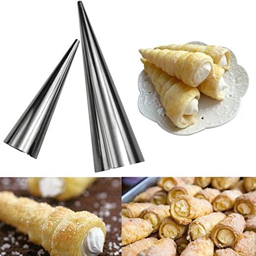 3pcs Stainless Steel Croissants Pastry Conical Tube Spiral Cone Baking Mould