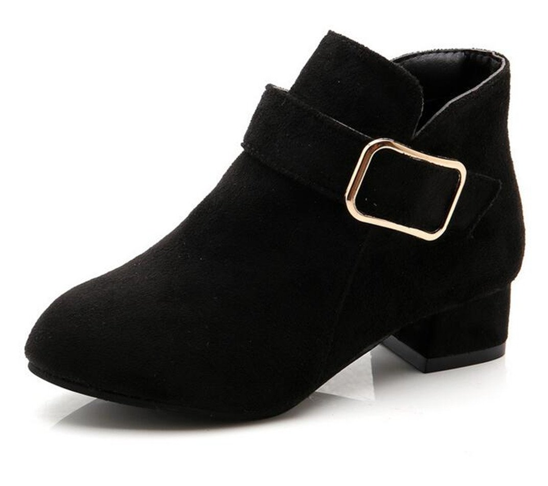 Bumud Girl's Faux Suede Low Heel Side Zipper Ankle Boots (Toddler/Little Kid) (2 M US Little Kid, Black)