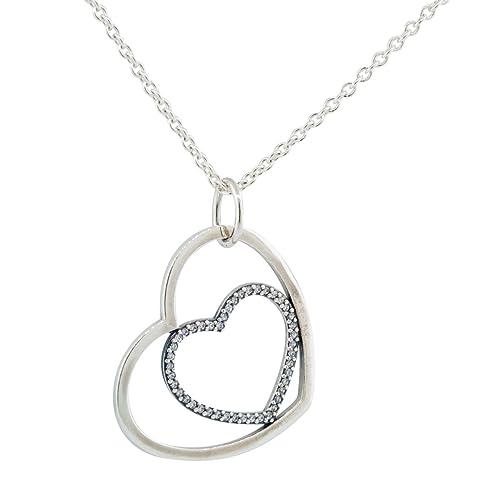c70110c48 Pandora Women's Heart to Heart Necklace Clear Cubic Zirconia 90CM long:  Amazon.ca: Jewelry