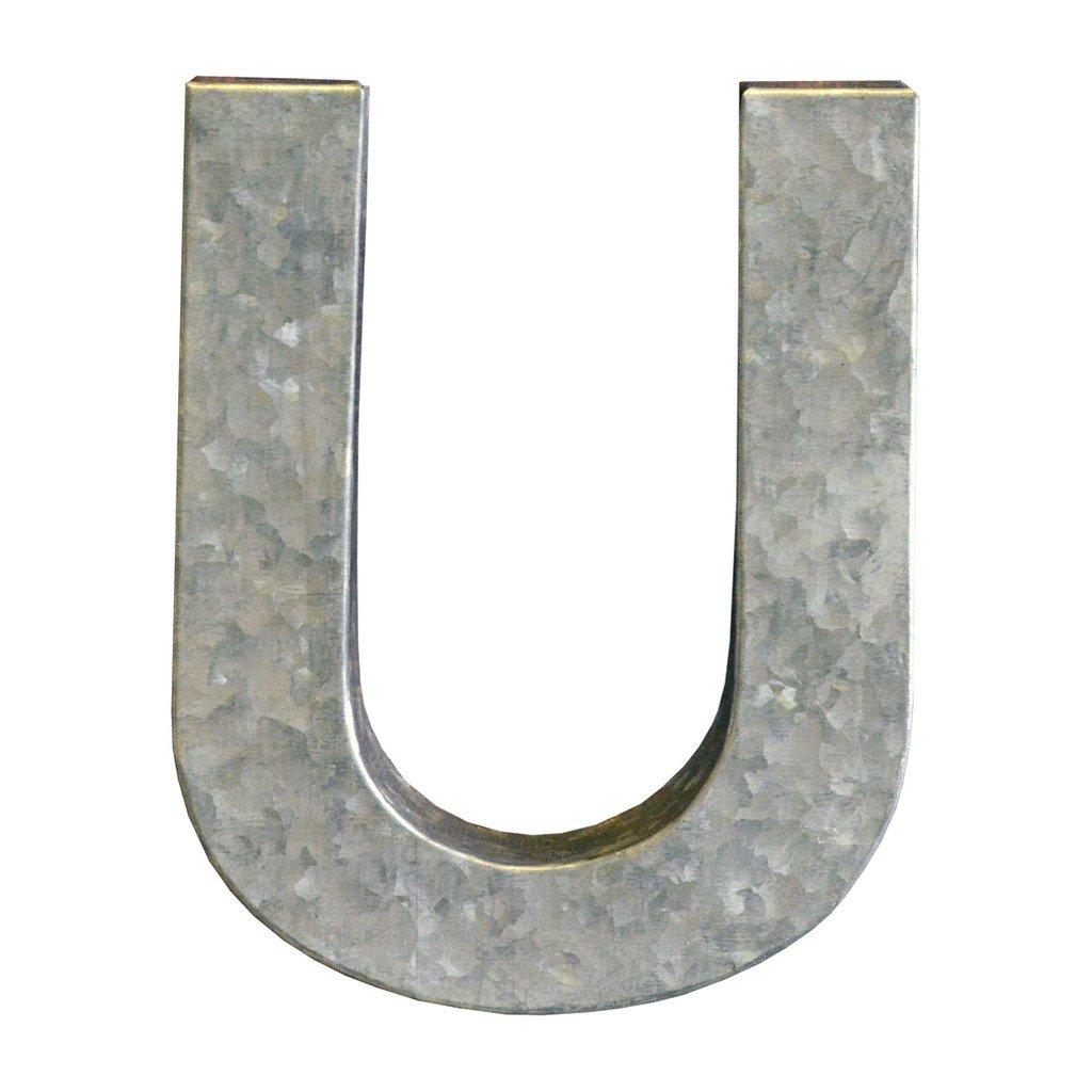 Modelli Creations Alphabet Letter U Wall Decor, Zinc